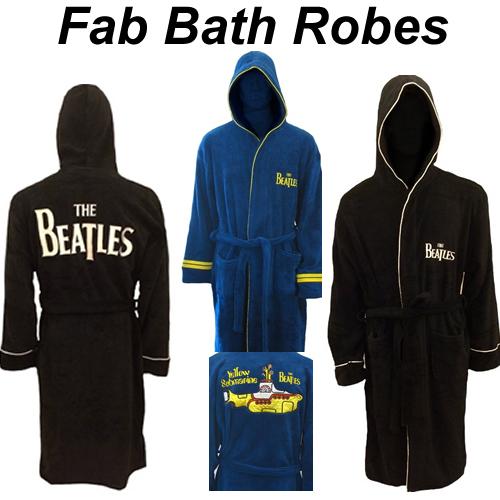 THE BEATLES Men/'s Classic Logo Fleece BATH ROBE NEW Official Apple Records